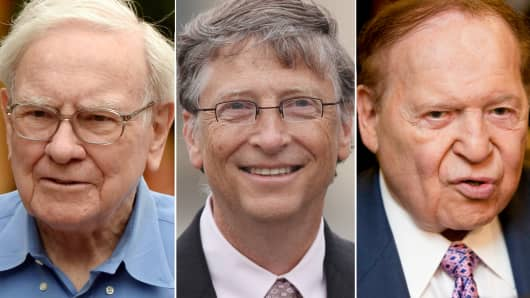 Warren Buffett, Bill Gates and Sheldon Adelson.