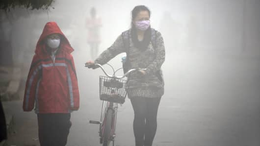 Woman walks with her child on a street as schools were closed due to the heavy smog in Jilin, northeast China's Jilin province.