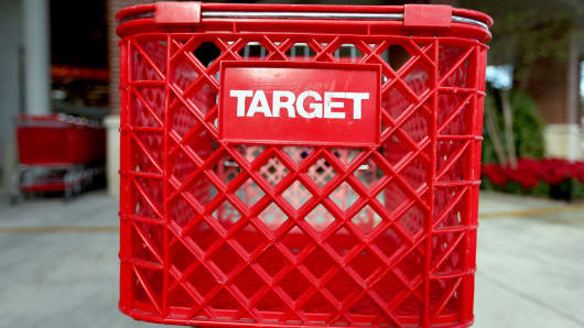 Carts are seen outside of a arget store on December 19, 2013 in Miami, Florida.