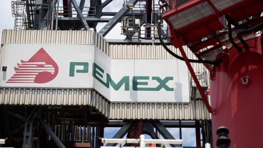 Pemex's La Muralla IV deep sea crude oil platform in the waters off Veracruz, Mexico.