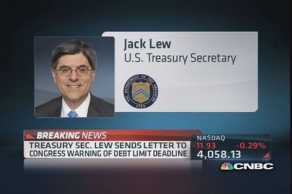Lew sends letter to Congress warning of debt limit