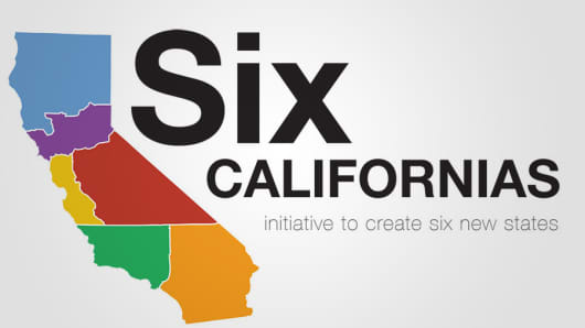An image from investor Tim Draper's website proposing to split California into six states.
