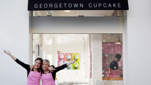 Katherine Kallinis Berman and Sophie Kallinis LaMontagne escaped 'the cube' to start Georgetown Cupcakes.