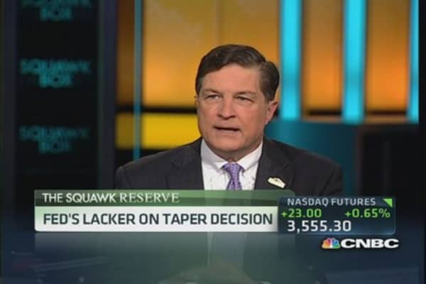 Taper decision was 'slam dunk': Fed's Lacker