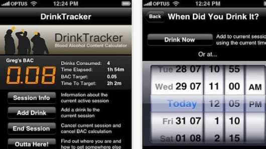 Drinktracker app for iPhone.