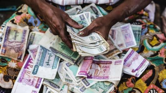 Premium women counting money