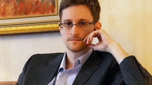 Former intelligence contractor Edward Snowden during an interview at an undisclosed location in Moscow.