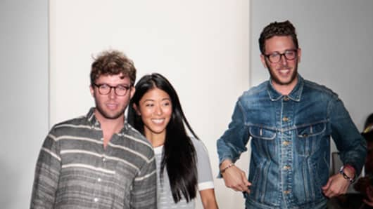 From left: Timo Weiland brand designers Timo Weiland, Donna Kang and Alan Eckstein.