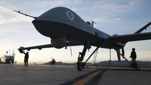 A Predator drone, operated by the U.S. Office of Air and Marine, near the Mexican border.