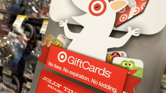 A display advertising Target gift cards at a store in Mayfield Heights, Ohio.