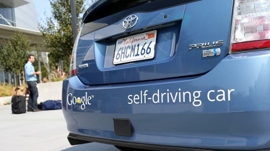 A Google self-driver at company headquarters in Mountain View, Calif.