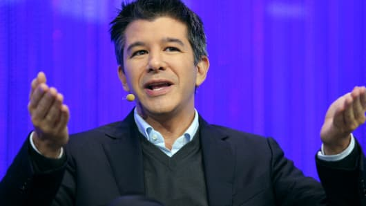 Travis Kalanick, co-founder and CEO of Uber, talks during a session of LeWeb 2013 event near Paris in December 2013.