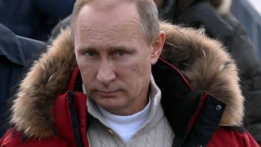 Russia's President Vladimir Putin visits the 'RusSki Gorki' Jumping Center at the Krasnaya Polyana resort near the Black Sea city of Sochi, on January 3, 2014.