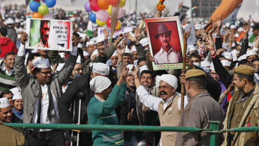 Supporters of the Aam Aadmi (Common Man) Party