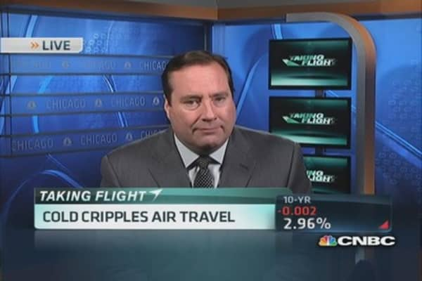 Cold weather crippling flights nationwide