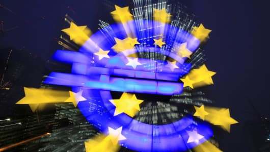 European Central Bank and Euro Symbol in Frankfurt, Germany.