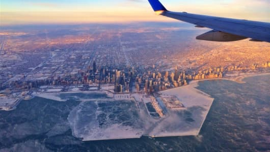Pilot Hank Cain captured this image of a frozen Chicago from a United Express flight from Washington D.C. to the Windy City.
