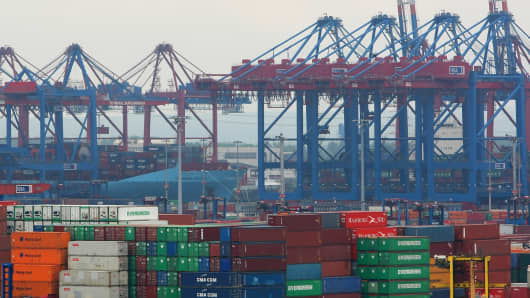 Cranes and containers in the port of Hamburg, Germany