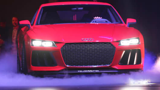 Audi Sport Quattro Laserlight concept car at The Cosmopolitan of Las Vegas on January 6, 2014.
