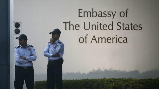 US Embassy in New Delhi, India, on December 17, 2013.