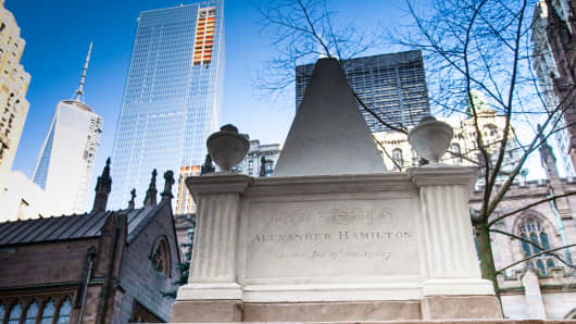 Hamilton's tombstone, in Trinity Church cemetery, near Wall Street.