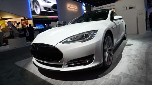 A Tesla on display at the 2014 International CES in January in Las Vegas.