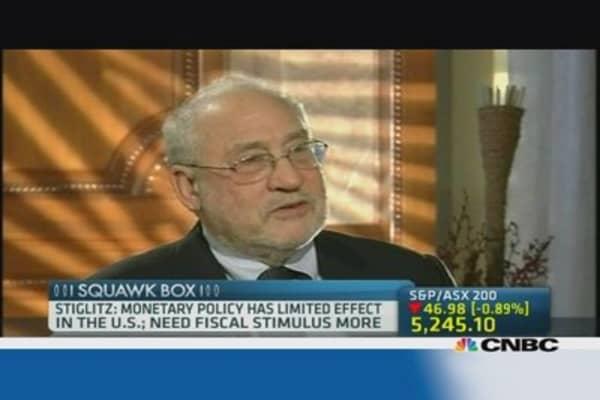 Joseph Stiglitz: US needs fiscal stimulus
