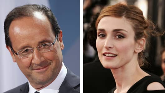 Composite photo with Francois Hollande and French actress Julie Gayet.