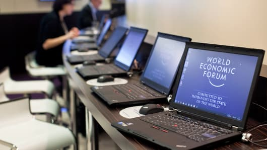 Laptops at the World Economic Forum in Davos, Switzerland.