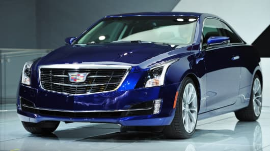 The 2015 Cadillac ATS coupe is unveiled during a press preview at the North American International Auto Show January 14, 2014 in Detroit, Michigan.