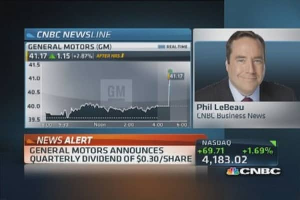 GM announces quarterly dividend of $0.03 per share