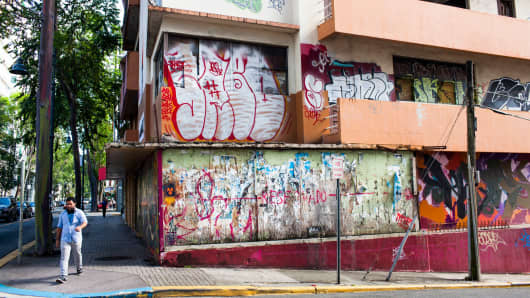 A vacant building in the Santurce neighborhood of San Juan, Puerto Rico.