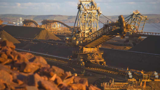 Rio Tinto Iron Ore Parker Point loading facility reclaimer is seen as part of the mining activities of British-Australian mining and resources company Rio Tinto Iron Ore, at Dampier in Western Australia.