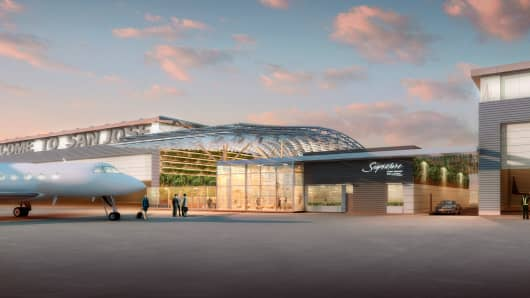 An artist's rendering of Google's private terminal at Mineta San Jose International Airport
