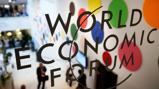 The World Economic Forum logo in Davos, Switzerland.
