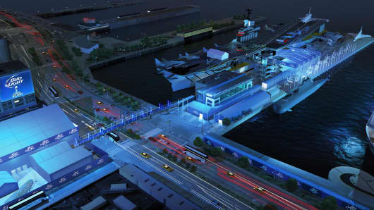 Artist rendering of the overall site for the Bud Light Hotel festivities, adjacent to where the Norwegian Cruise Line's Getaway will dock. Many events will be held at the Intrepid Sea, Air & Space Museum.