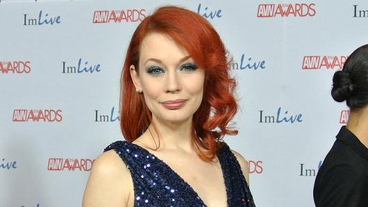 Justine Joli on the red carpet at the 2014 AVN Awards in Las Vegas.