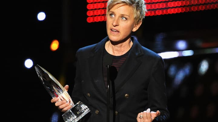 TV personality Ellen DeGeneres accepts the Favorite Daytime TV Host award onstage at The 40th Annual People's Choice Awards at Nokia Theatre L.A. Live on January 8, 2014 in Los Angeles, California.