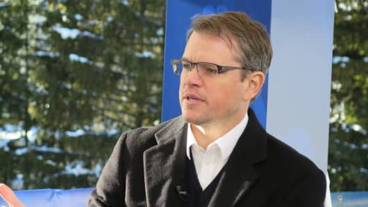 Matt Damon dicussing the world's water crisis at 2014 WEF in Davos, Switzerland.