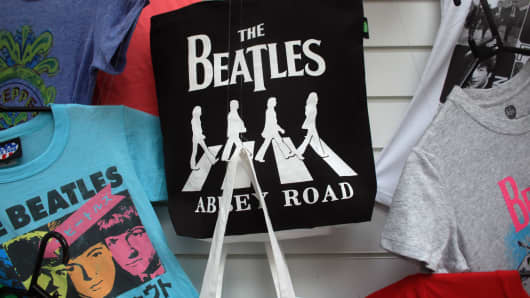 Beatles merchandise in a shop in Liverpool, England