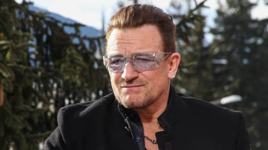 Bono participates at the 2014 WEF in Davos, Switzerland.