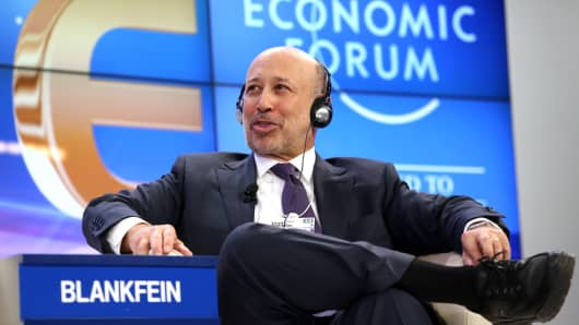 Lloyd Blankfein, chief executive officer of Goldman Sachs, during a session on day two of the World Economic Forum in Davos, Switzerland, on Thursday.