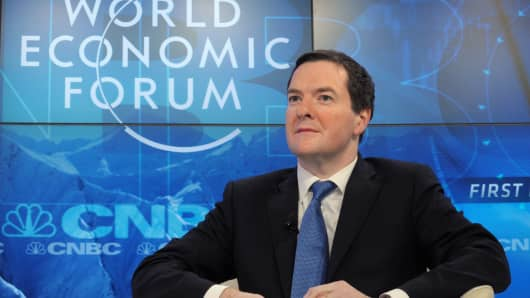 British Chancellor of the Exchequer George Osborne attends the CNBC  session at the World Economic Forum in Davos.