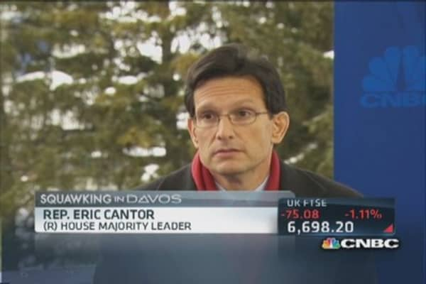 Rep. Cantor brings politics to Davos