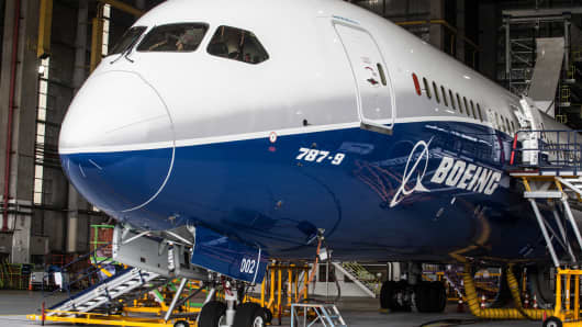 A Boeing Co. 787-9 Dreamliner test aircraft in a hangar at Air New Zealand Ltd.'s technical operations base at Auckland International Airport in Auckland, New Zealand, on Sunday, Jan. 5, 2014.
