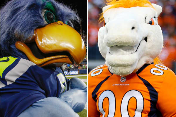 Seattle Seahawks and Denver Broncos mascots.