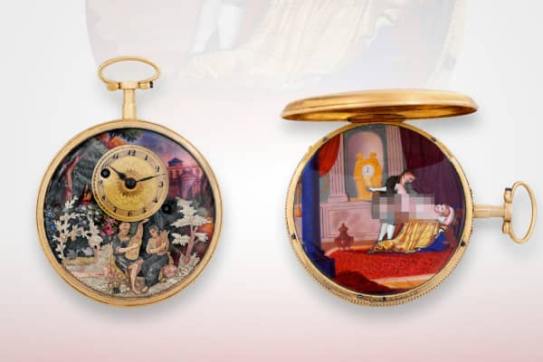The Henry Capt, Musique D'amour, is an extremely rare 18-karat gold, enameled pocket watch that reveals an erotic automaton scene and was the highlight of the erotic collection. Made circa 1810.