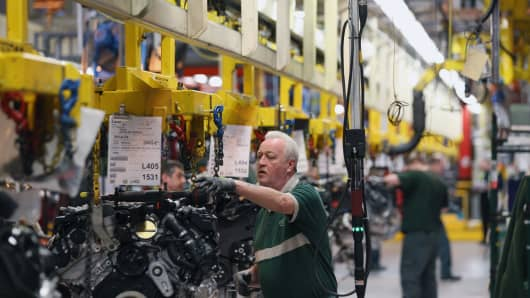 The production line at the Jaguar Land Rover factory in Solihull, England