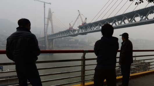 A bridge under construction in China. Some WMPs are invested in infrastructure projects that have no tangible revenue.