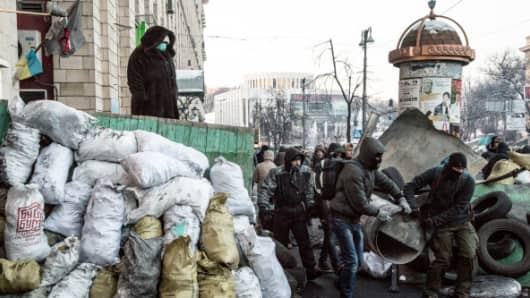 Barricades and protestors in Kiev, Ukraine